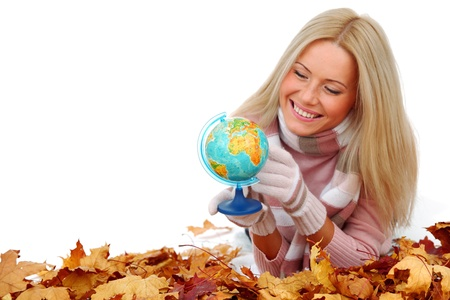 woman take globe isolated in studio Stock Photo - 10548142