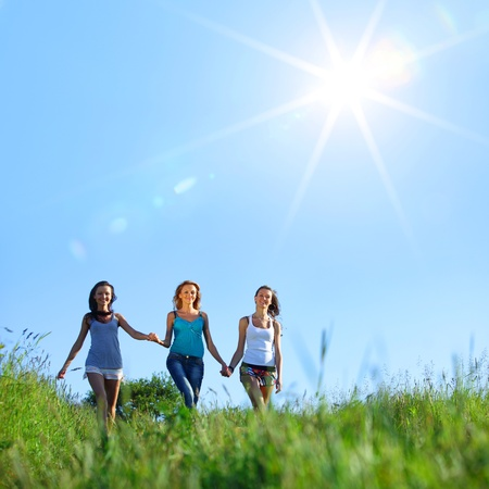 women fun on grass field Stock Photo - 10548195