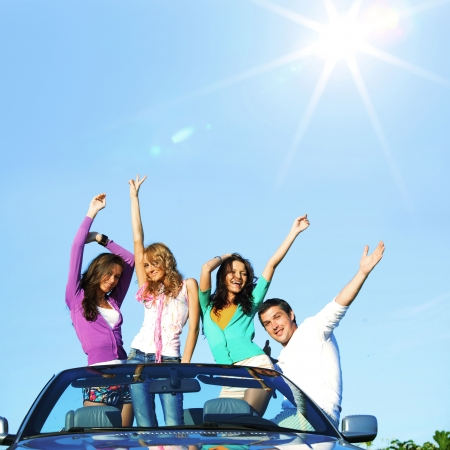 funey friends in dance car Stock Photo - 10548121