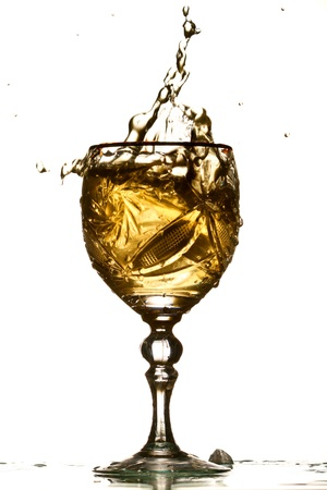 tannin: wine splash isolated on white