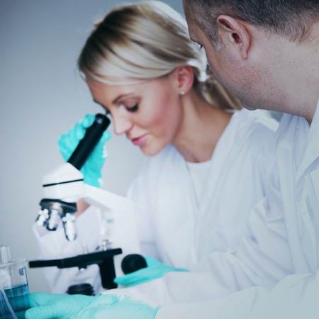 two scientist in chemical lab conducting experiments Stock Photo - 10555578