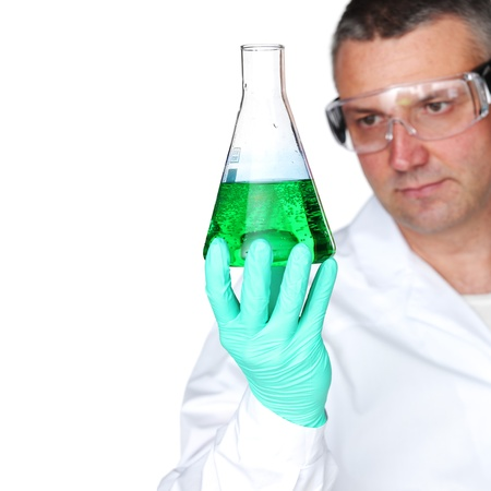 Chemistry Scientist conducting experiments on white background Stock Photo - 10555535