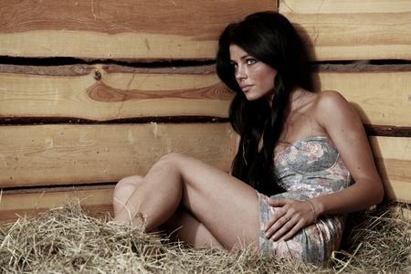 woman on hay close up portrait photo