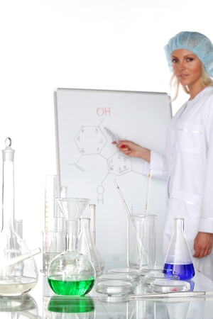Woman  conducting a chemical experiment Stock Photo - 10555584