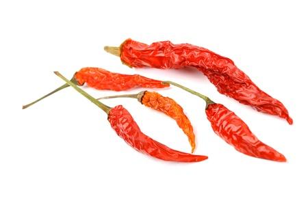 legumbres secas: pimienta de chile seco aislado en blanco Foto de archivo