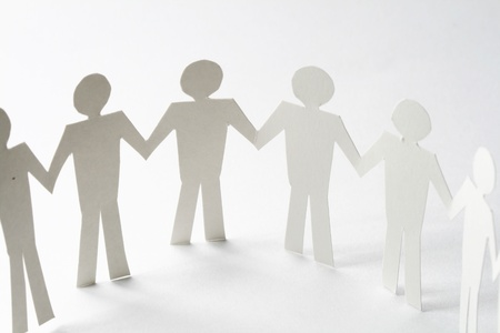 paper team linked together partnership concept Stock Photo - 10610999