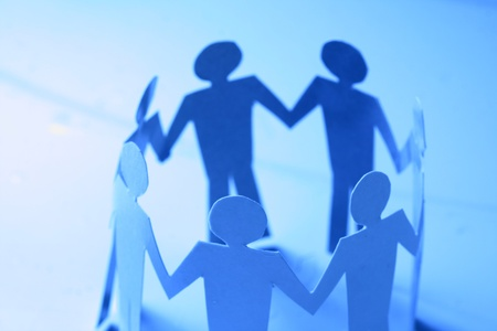 paper team linked together partnership concept Stock Photo - 10611056
