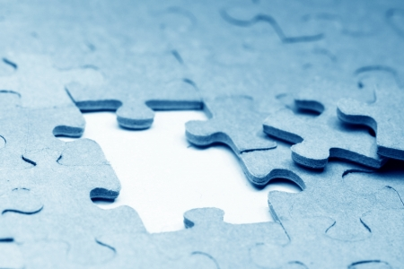 missing link: puzzle combined objects macro close up  Stock Photo
