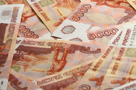 ruble: 5000 rubles macro background Stock Photo