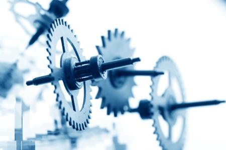 clock gears: mechanical clock gear macro close up