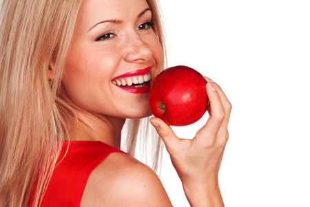 woman eat red apple on white background Stock Photo - 10633142