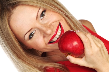 woman apple: woman eat red apple on white background