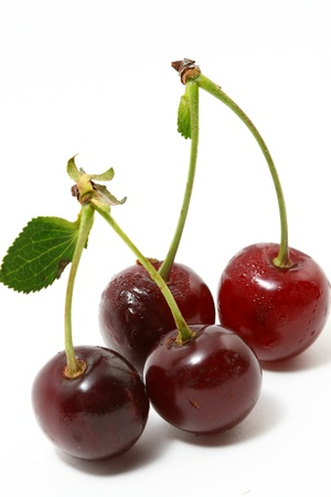 sour cherry: sweet cherry isolated on white background