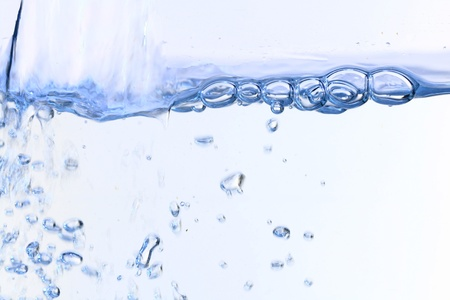 boiling: water bubbles blose up on white background