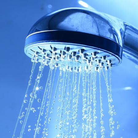 fresh shower clean blue water jet photo