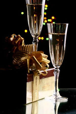 festive occasions: holiday card golden champagne and gift