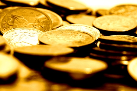 silver coins: coins background macro close up Stock Photo