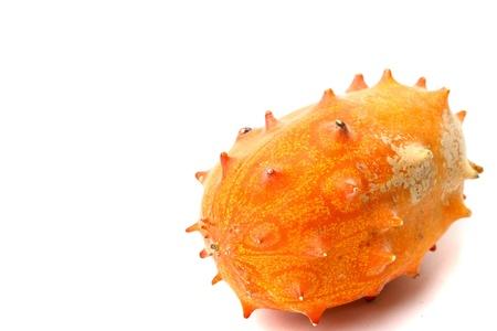 pointy: kiwano cucumis metuliferus on white background Stock Photo