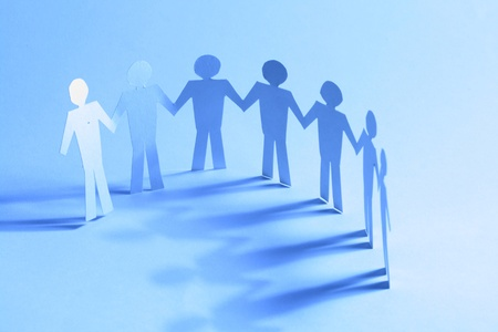 paper team linked together partnership concept Stock Photo - 10669810