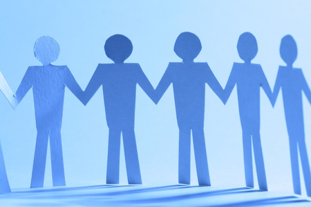 paper team linked together partnership concept Stock Photo - 10669763