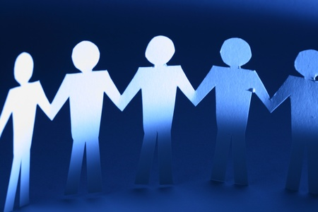 paper team linked together partnership concept Stock Photo - 10669748