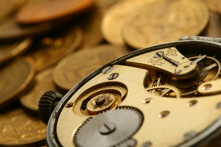 time is money coins and clock macro concet Stock Photo - 10669689