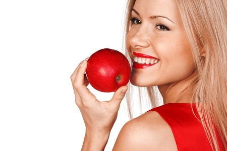 smile teeth: woman eat red apple on white background