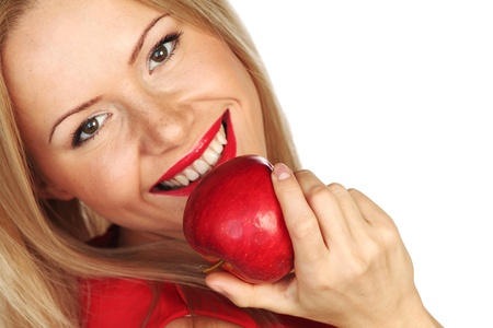 woman eat: woman eat red apple on white background