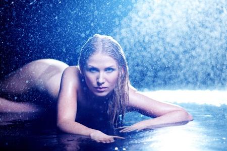 woman portrait in water sudio