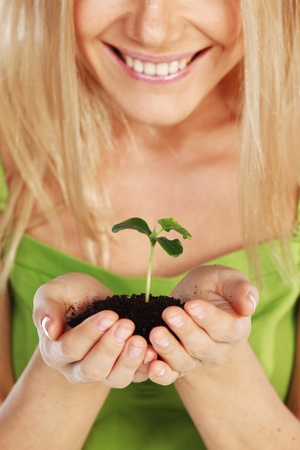 plant in blonde hands close up Stock Photo - 10705708