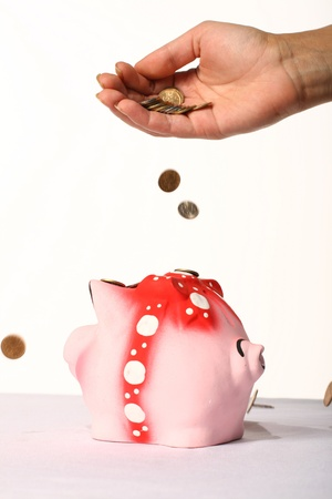 nestegg: Coin box pink pig and hand Stock Photo
