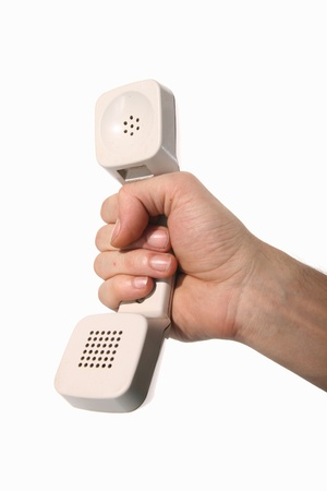 signaling: phone ring in human hand on white