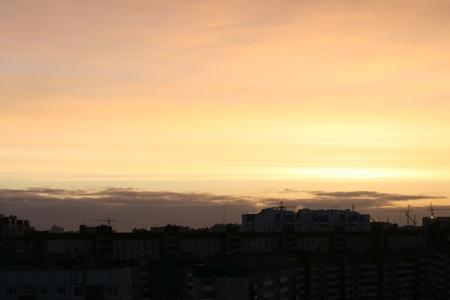 skie: morning sky under awake city  Stock Photo