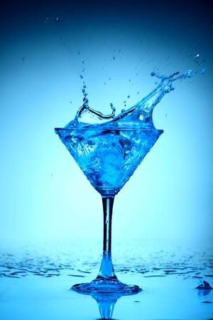 coctail: blue coctail splash macro close up