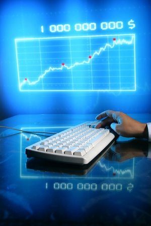 businessman input finance data information on keyboard Stock Photo - 10858848