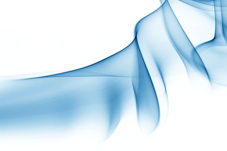 air flow: blue smoke on white background