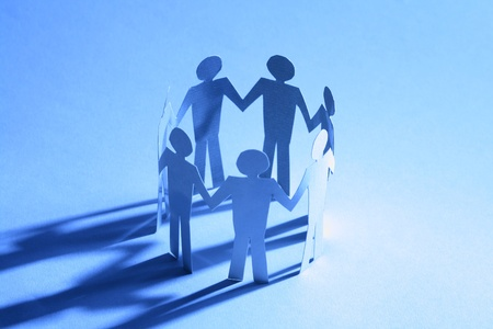 paper team linked together partnership concept Stock Photo - 10867473