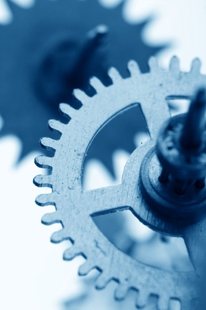 clockwork: mechanical clock gear macro close up
