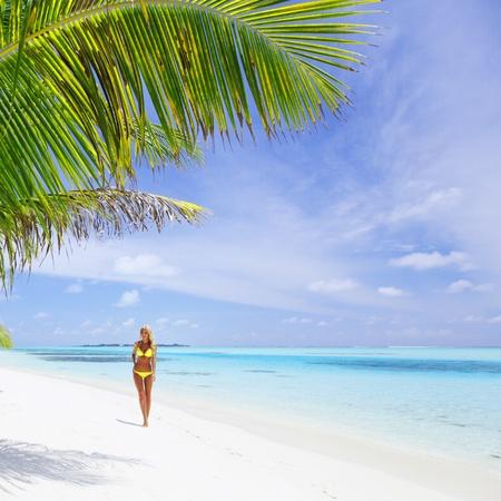 woman in bikini under palm on sea background Stock Photo - 10896031