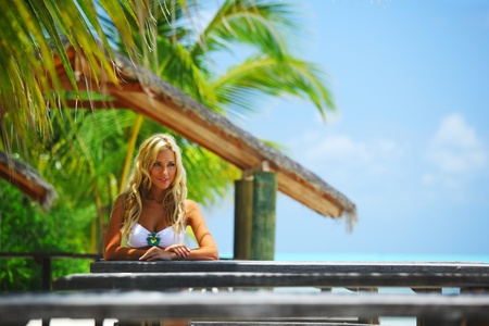 woman in a tropical cafe Stock Photo - 10895973