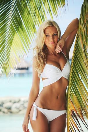 mujer sexy: mujer en bikini en palm sobre fondo de mar