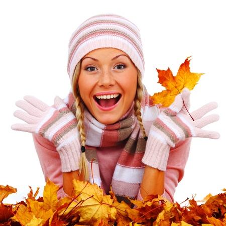 autumn woman in studio on white background photo