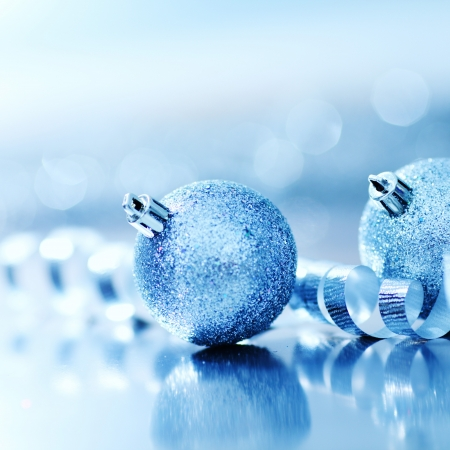 christmas blue: blue christmas ball on silver background Stock Photo