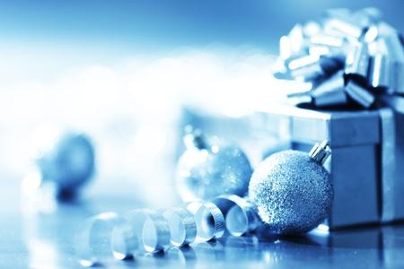 celebrate life: blue christmas gift on silver background Stock Photo