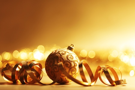 golden christmas ball background photo