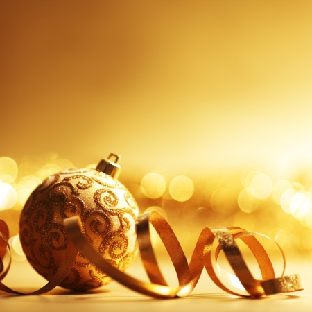 golden christmas ball background Stock Photo - 10913890