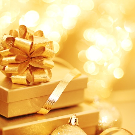 evening glow: golden christmas balls and gifts