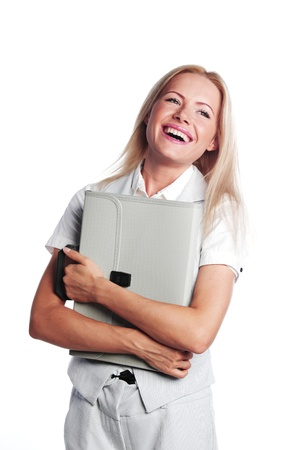 business woman with a briefcase on a white background Stock Photo - 10940860