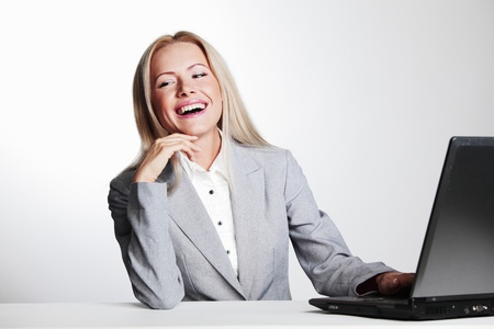 business woman working on laptop Stock Photo - 10940849