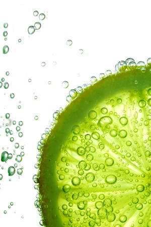 lime: lime slice in water bubbles